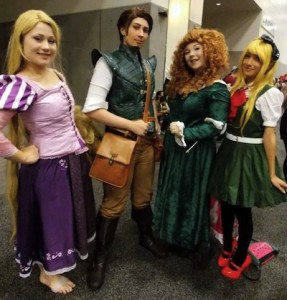 "Four women in Disney cosplay. Note the spot-on portrayal of Flynn Rider, Rapunzel's prince. All Neatorama.com had to say about her was that she didn't focus on making herself ""cuter"" and implied that she dressed this way because there were no men to do it for her."