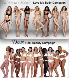 Dove's Real Beauty Campaign image with Victoria's Secret Love My Body Campaign image.