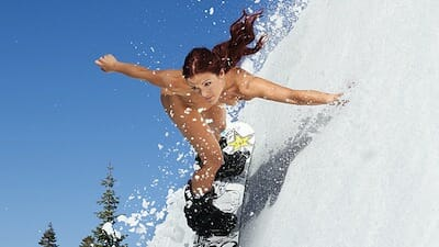 Pro snowboarder Elena Height loses the snowsuit and hits the slopes.