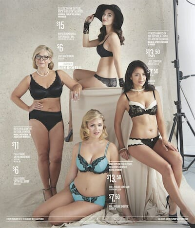A page from the Best & Less catalogue featuring women of different sizes and ages.