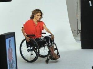 Angela Rockwood modeling in her wheelchair.