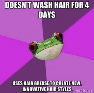 Bachelorette Frog Meme about unwashed hair.