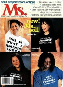 """Ms. Magazine cover with celebrities wearing """"This is what a feminist looks like"""" shirts."""