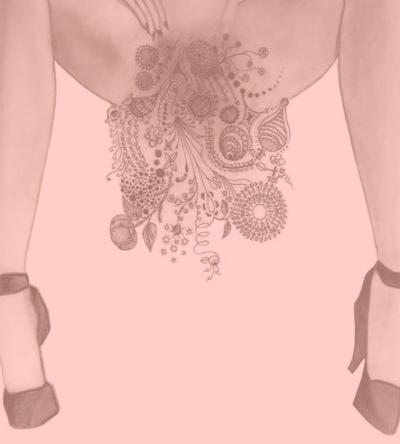 Artistic interpretation of woman with pubic hair.
