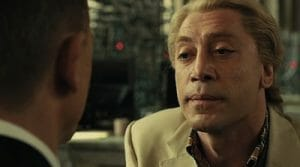 The villain of the most recent Bond movie, Skyfall, a crucial character in a popular franchise that happens to also be bisexual.