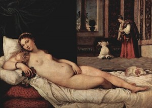 Titian's Venus of Urbino (1538) features a woman with modest breasts and a round belly.
