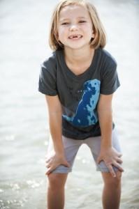 Girl modeling dog t-shirt.