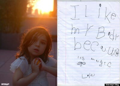 """Image of little girl next to paper that reads, """"I like my body because it's magic."""""""