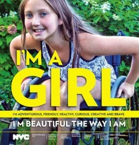 NYC Girl's Project poster, featuring girl in wheelchair.