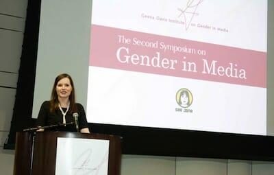 Geena Davis speaking at the Second Symposium on Gender in the Media.
