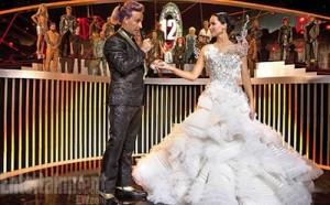 Katniss in wedding dress.