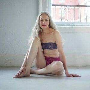 Jacky O'Shaughnessy brings a natural elegance to American Apparel ads.