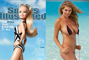 left: Barbie on the cover of Sports Illustrated, right, Kate Upton in the 2014 Sports Illustrated swimsuit issue