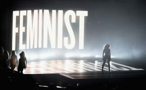"Beyoncé adapted feminism to fit her own brand at the 2014 VMAs, writing ""feminism"" in the same font and color as the title of her most recent album, Beyoncé."