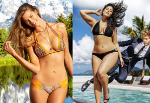 Robyn Lawley (left) appears in the editorial portion, and Ashley Graham (right) is in an ad for Swimsuits for All.