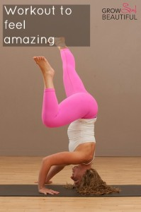 "woman doing headstand with quote ""workout to feel amazing."""