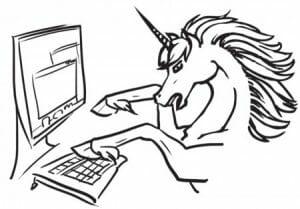 unicorn typing on computer