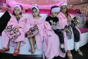 Little girls at spa