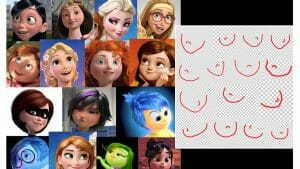 All of these animated female characters have the same face shape.