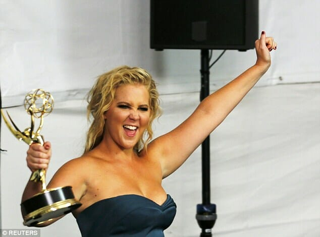 Amy Schumer celebrating her Emmy win for Best Variety Sketch.