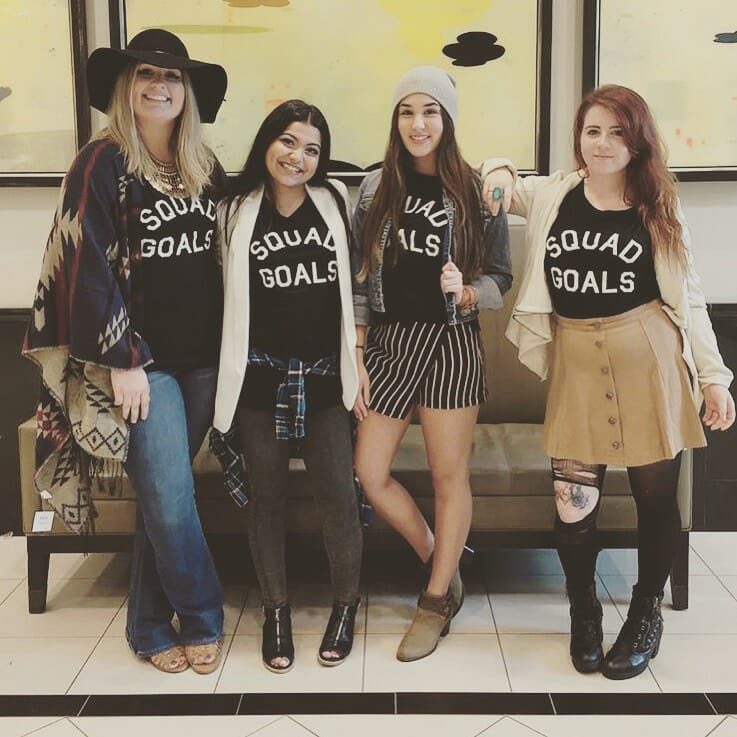 "Yes, we're wearing matching ""squad goals"" shirts. It's still a breath of fresh air after that terrifying mannequin."